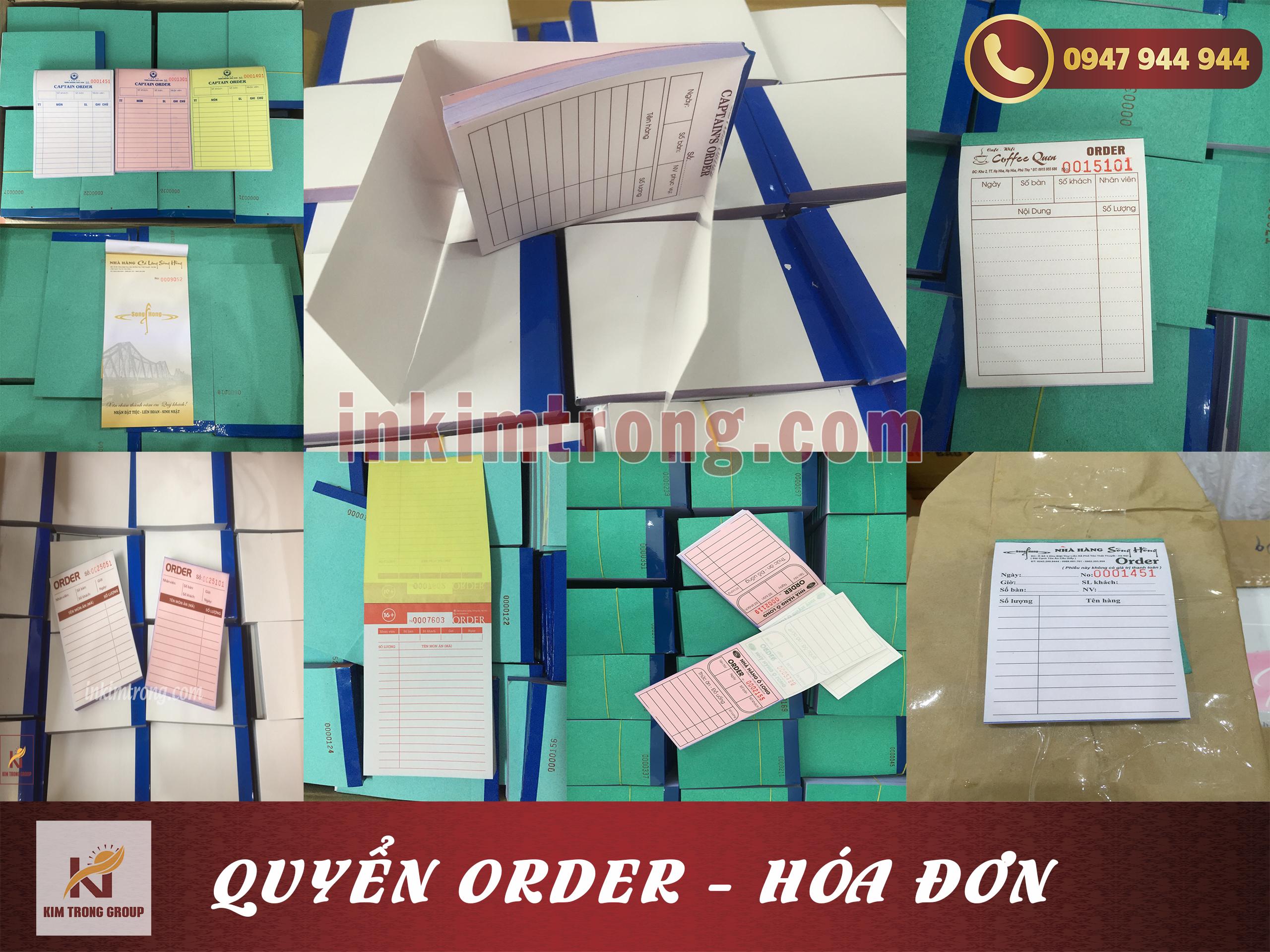 Quyển order giá rẻ tại Hà Nội